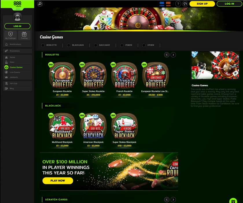 The lobby with great games at 888 online casino
