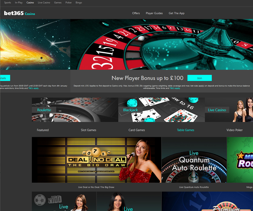 The home page of bet365 online