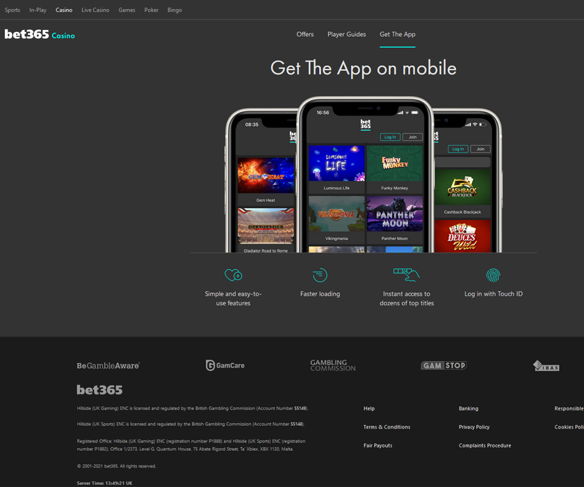 The mobile games you can play on bet365 platform are excellent