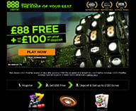 Preview of the home page of 888 casino