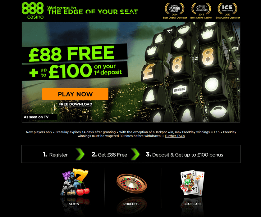 The home page of 888 casino