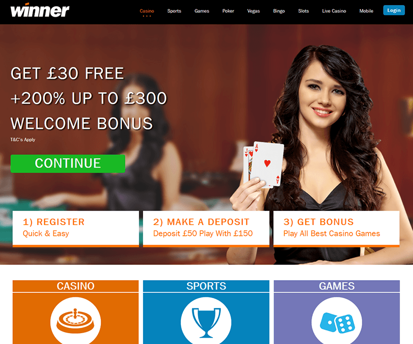 The home page of Winner