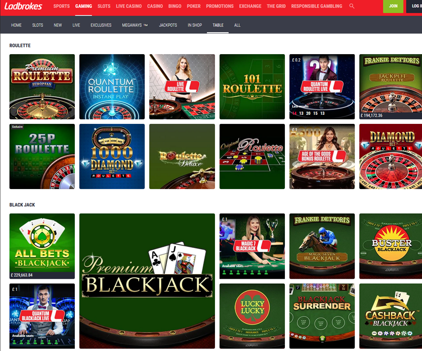 Ladbrokes casino home page with the welcome bonus