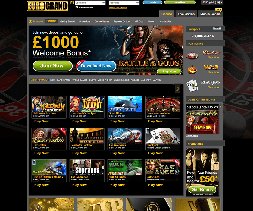 The landing page of Eurogrand with the welcome bonus