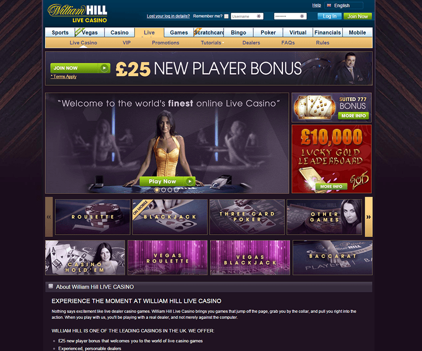Live casino with William Hill online