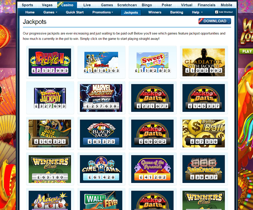 The jackpots lobby of WillHill online