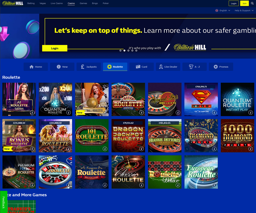 The home page and welcome offer at WH Casino