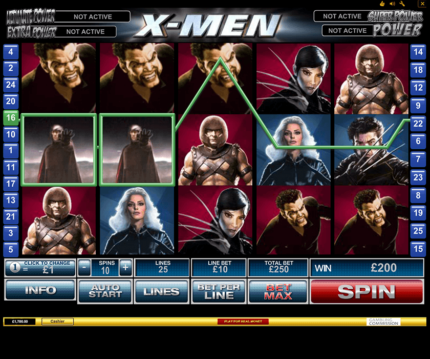 X-Men is one of the favourite slot games by Playtech at Eurogrand